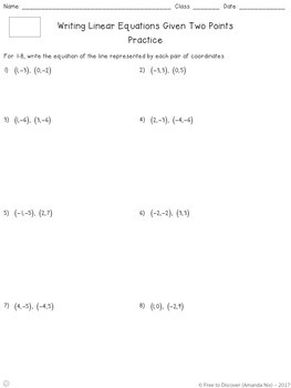 Writing Linear Equations (Two Points) Notes and Practice (Differentiated)