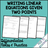 Writing Linear Equations (Two Points) Notes and Practice (