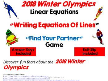 Writing Linear Equations/Winter Olympics Fun Facts MASHUP