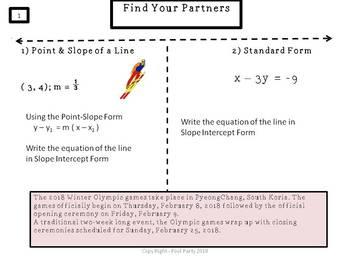 Writing Linear Equations/Winter Olympics Fun Facts MASHUP
