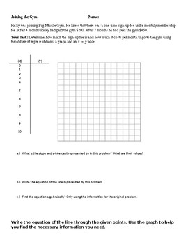 Writing Linear Equations Word Problem - 2 Points Given