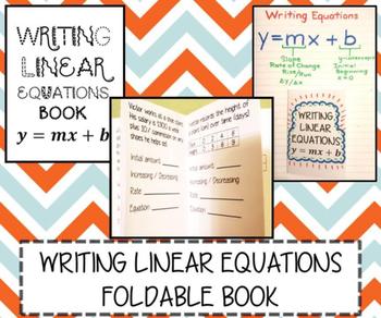 Writing Linear Equations Word Problems INB FOLDABLE BOOK