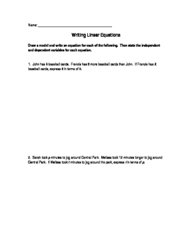 Writing Linear Equations Worksheet
