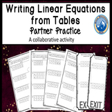 Writing Linear Equations from Tables Partner Practice