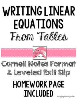 Writing Linear Equations from Tables y=mx+b Notes/Homework 8.F.4 Go Math
