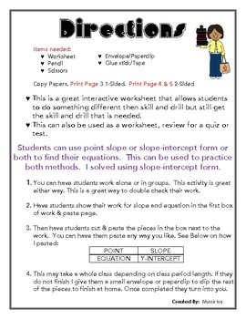 Writing Linear Equations from Two Points Cut & Paste Activity