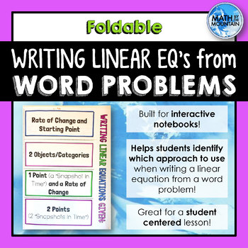 Writing Linear Equations from Word Problems & Applications Foldable