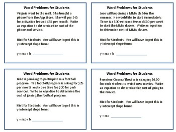 Writing Linear Equations from Word Problems II