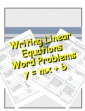 Writing Linear Equations from Word Problems y = mx + b, Sl