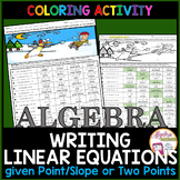 Christmas Algebra Writing Linear Equations given a Point and Slope or Two Points