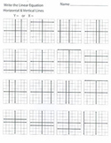Writing Linear Equations (horizontal and vertical lines)