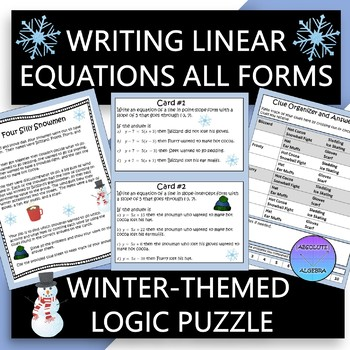 Writing Linear Equations in All Forms Logic Puzzle
