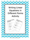 Writing Linear Equations in Different Forms Activity