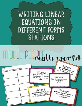 Writing Linear Equations in Different Forms Stations
