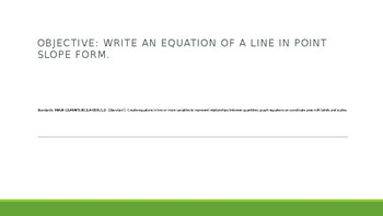 Writing Linear Equations in Point Slope Form
