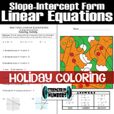 Writing Linear Equations in Slope-Intercept Form Holiday Coloring Activity