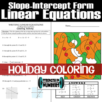 Graphing Linear Equations Slope Intercept Form Color Teaching