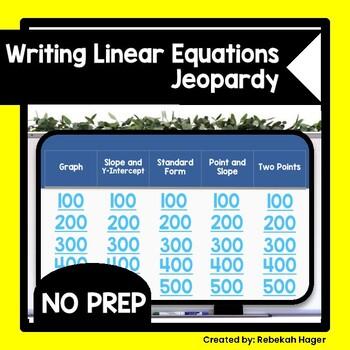 slope intercept form jeopardy  Writing Linear Equations in Slope-Intercept Form Jeopardy Game