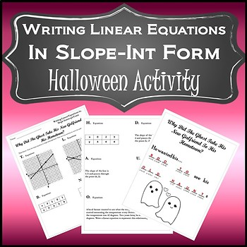Halloween Algebra Activity {Algebra 1 and 2 Algebra Halloween Slope Activity}