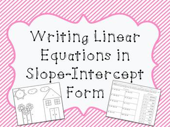 Writing Linear Equations in Slope-Intercept Form: Color by