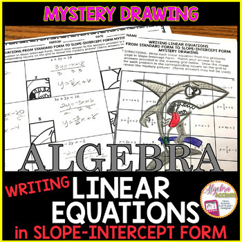 Writing Linear Equations in Slope Intercept Form Mystery Drawing