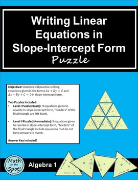 Writing Linear Equations in Slope-Intercept Form Puzzle