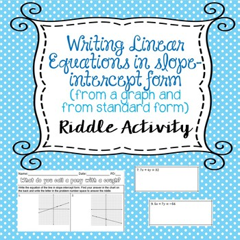 Writing Linear Equations in Slope-Intercept Form Riddle Activity