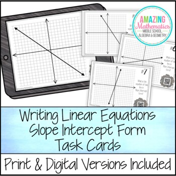 Writing Linear Equations in Slope Intercept Form Task Card Activity