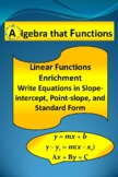 Linear Functions Enrichment Write inSlope-intcpt.,Point-sl