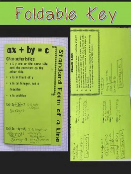 Writing Linear Equations in Standard Form Foldable, INB, Practice, Exit Ticket