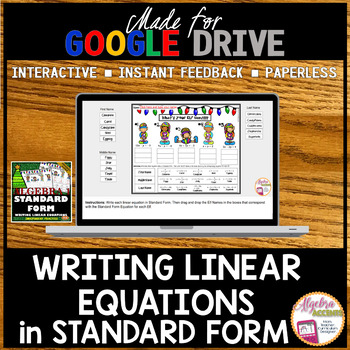 Writing Linear Equations in Standard Form Practice Elves (Made for Google Drive)