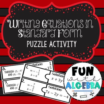 Writing Linear Equations in Standard Form Puzzle Activity