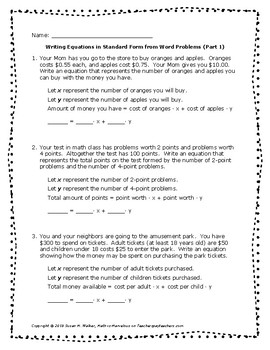 Writing Linear Equations in Standard Form from Word Problems ~ Scaffolded