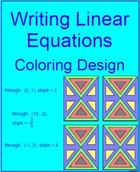 Writing Linear Equations using one Point and Slope - Coloring Activity