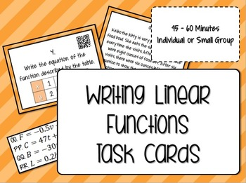 Writing Linear Functions Task Cards with QR Codes - Math Centers