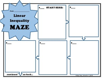 Writing Linear Inequalities Maze
