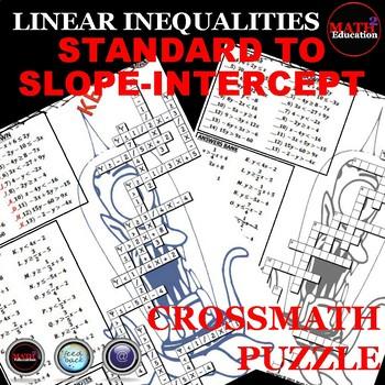 Writing Linear Inequalities: Slope Intercept Form Crossword