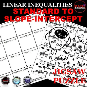 Writing Linear Inequalities: Slope Intercept Form Jigsaw Puzzle