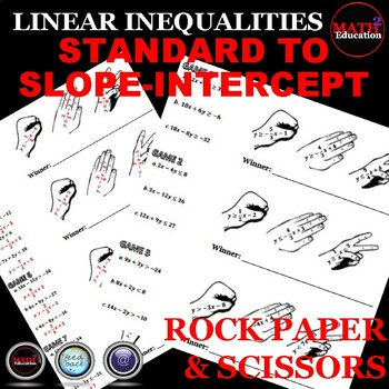 Writing Linear Inequalities: Slope Intercept Form Rock Paper and Scissors!