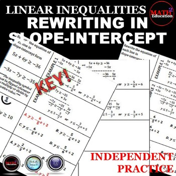 Writing Linear Inequalities: Slope Intercept Form Student Pratice and notes