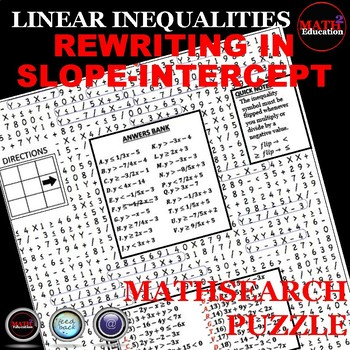 Writing Linear Inequalities: Slope Intercept Form Wordsearch (Mathsearch)