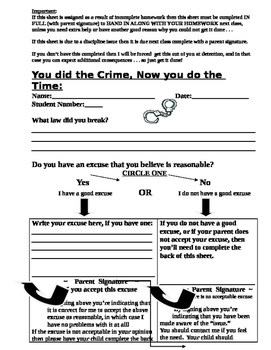 Writing Lines Discipline Form - You Did the Crime, You do the Time