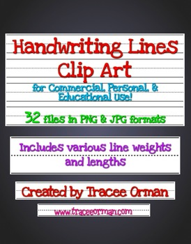 Writing Lines for Handwriting Practice Clip Art Commercial Use