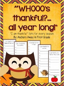 Writing Lists: thankful lists