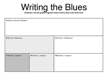 Writing Lyrics for a 12 Bar Blues - Graphic Organizer