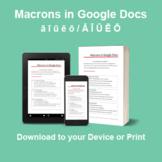 Adding Macrons in Google Docs