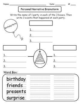 """Writing Made Easy: Personal Narrative - """"Birthday Party"""""""