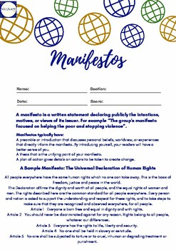 Writing Manifestos - Worksheet