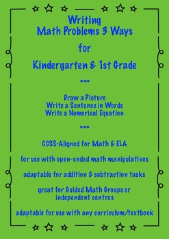 Writing Math Problems 3 Ways for Kindergarten & 1st Grade