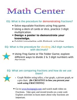 Writing Math, and Discovery Centers
